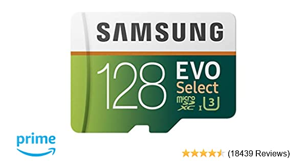 725af19fd Amazon.com  Samsung 128GB 100MB s (U3) MicroSD EVO Select Memory Card with  Adapter (MB-ME128GA AM)  Computers   Accessories