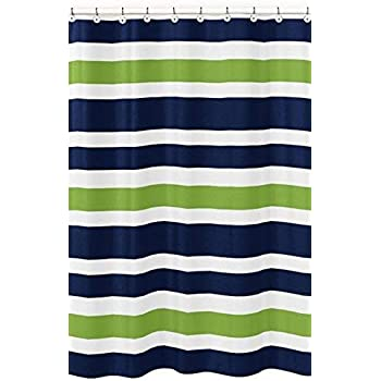Sweet Jojo Designs Navy Blue Lime Green And White Kids Bathroom Fabric Bath Stripes Shower
