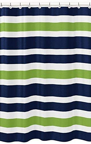 Sweet Jojo Designs Navy Blue Lime Green And White Kids Bathroom Fabric Bath Stripes Shower