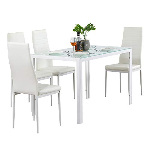 MTFY 5 Piece Dining Table Set, Modern Dining Room Glass Table with 4 PU Leather Chairs Set for 4 Persons, Contemporary Rectangle Dining Furniture Set of 4 for Living Room/Kitchen (Style-2White)