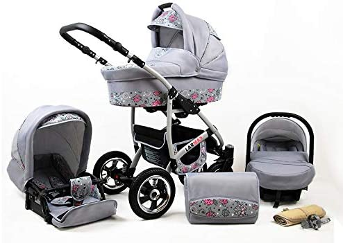 Lux4Kids 3 in 1 Combi pram Pushchair Stroller Complete Set with car seat Isofix Larmax Purple /& Flowers 3in1 with Baby seat