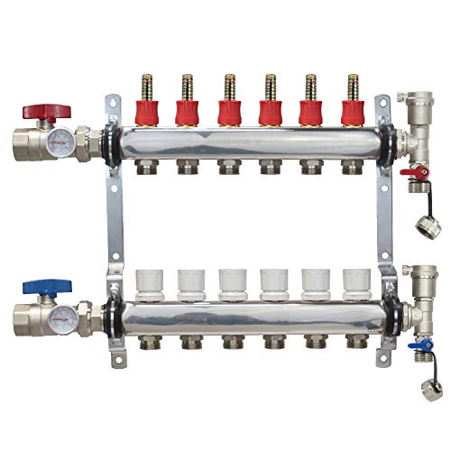 6 Loop Stainless Steel Premium PEX Manifold With 1/2