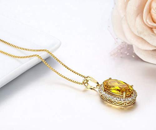 Nattaphol Gold Crystal with White CZ Accent Suspension Necklaces & Pendants Chain Necklace Women Jewelry Collares Mujer ()