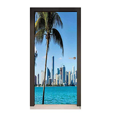Homesonne Coastal 3D Murals Wall Stickers Miami Downtown with Biscayne Bay Buildings and Palm Tree Panoramic Art for Bedroom Decoration Sky Blue Aqua Green,W23.6xH78.7