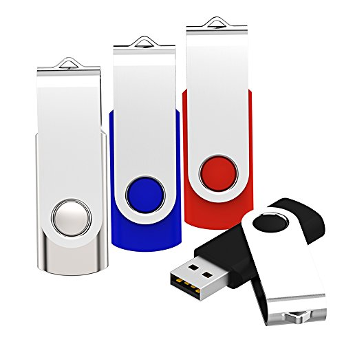 Keathy 4 Pack 4GB USB 2.0 Flash Drive Bulk Drives Memory Stick Foldable Thumb Drives Pen Drives Zip Drives 4 Color:Black Blue Red (1 Pen Flash Drive)