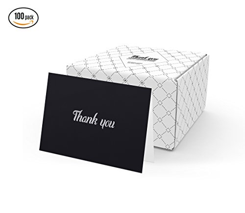 100 Thank You Cards (Black with Silver Foil) by Blue's Choice