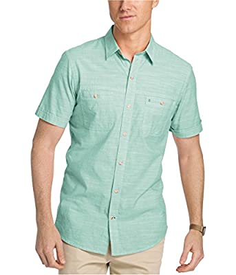 IZOD Men's Saltwater Dockside Chambray Short Sleeve Button Down Plaid Shirt