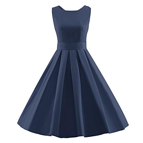 50s Sleeveless Vintage Blue Dress Hepburn Dark Women's Summer BFY Audrey 60s q0TXwggZ