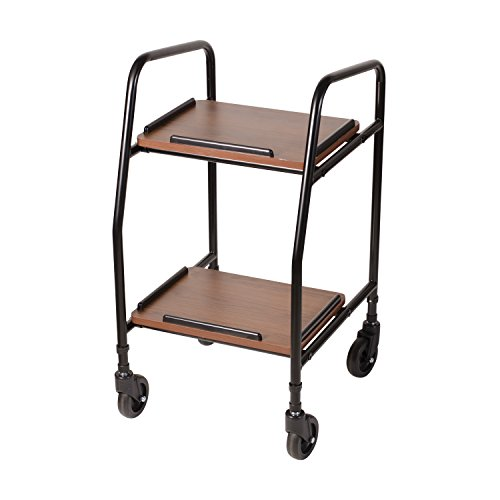 DMI Adjustable Height Rolling Utility Serving Tray Portable Table Food Cart Trolley, 2 Level Trays, 4 Wheels, Black and (Mabis Wood)