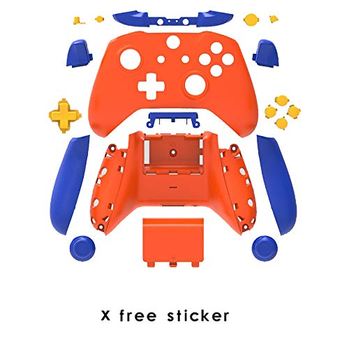Replacement Housing Full Shell Set Faceplates ABXY Buttons+LB RB LT RT + Right/Left Rails Replacment for Xbox One X/S Controlles (Orange) (Blue Buttons Xbox)