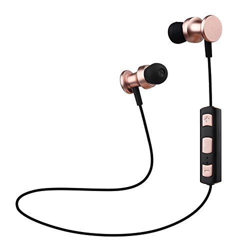 Pink Travel Earphone (OneOdio Bluetooth Earbuds For Running, Music, Calls & Travel | Wireless Magnetic Sports Headphones With Built-In Mic | Sweatproof, Comfy Fit & Detachable Hooks | For iPhone & More (Rose Gold))