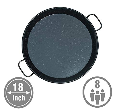 Mabel Home 18-inch Enamaled Steel Paella Pan, 46cm, 5-8 Servings