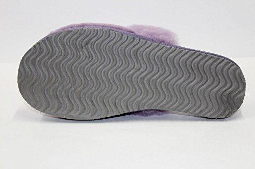 Furfurmouton Genuino Pantofole Di Pelle Di Pecora Australiana Womens Sheepskin Pantofole Di Lana Delle Donne Super Spessore Premium Lana Di Pecora Slipper Viola