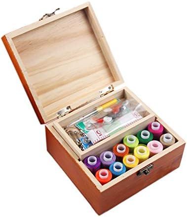 TOOGOO Caja de Coser de Madera con Accesorios de Kit de Costura Manual para Principiantes Kit de Inicio de Costura Peque?O PortáTil Kit de Costura Casero Simple PortáTil: Amazon.es: Hogar