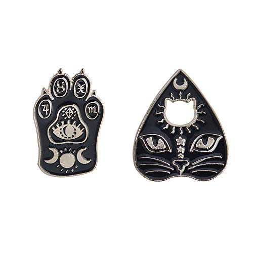 2 Pcs/Set Gothic Black Cat Pet Paw Brooch Enamel Witch Magic Cat Mystical Footprints Triple Moon Star Goddess Brooches Pin Sets Badges for Women Jewelry (Silver)