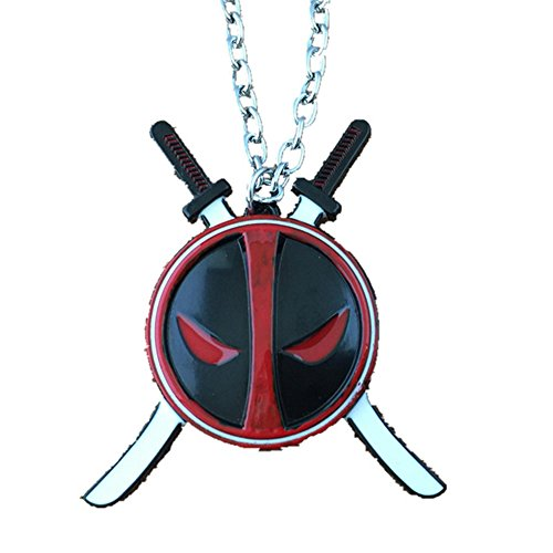 Blue Heron Marvel Comics Deadpool Swords Logo 18 Inch Necklace w/Gift Box -