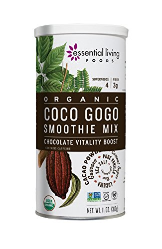 (Essential Living Foods Organic Coco Gogo Smoothie Mix, With Cacao, Lucuma, Mesquite, Coconut Sugar, Guarana, Caffeine, Vegan, Superfood, Non-GMO, Gluten Free, Kosher, 11 Ounce Tin)