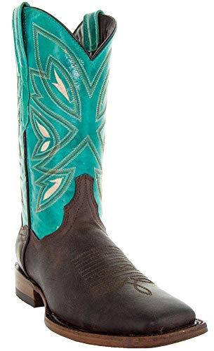Soto Boots Two-Toned Womens Square Toe Cowboy Boots M50036 (Brown/Turqoise,5.5)