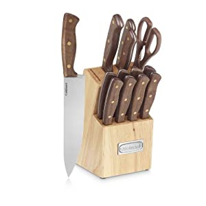 Cuisinart C55W-14PCB Advantage Cutlery 14-Piece Triple Rivet Walnut Knife Block Set