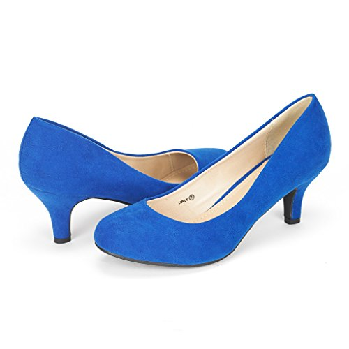 DREAM PAIRS Women's Luvly Royal Blue Bridal Wedding Low Heel Pump Shoes - 11 M US