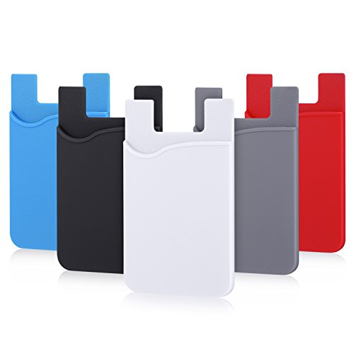 - Phone Card Holder, Pofesun 5 Pack Ultra-Slim Credit Card Holder Adhesive Pocket Compatible for iPhone Samsung iPad LG Sony More Android Smart Phones(Black, White, Gray, Blue, Red)