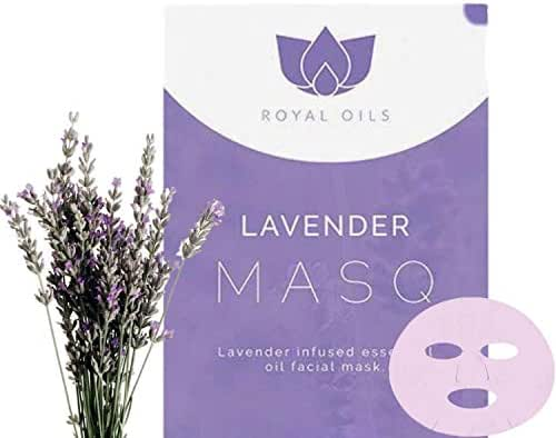 Royal Oils- Face Mask Sheets with Pure Essential Oils Lavender Pore Minimizer, Dead Skin Remover, Hydrate, Exfoliate (1 Masks)