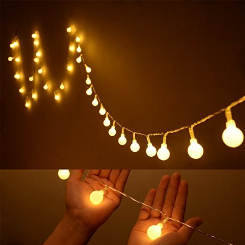 ilyever 40 led globe long string lights white color battery operated on 13ft4m led ball fairy starry light for garden party tree christmas new year