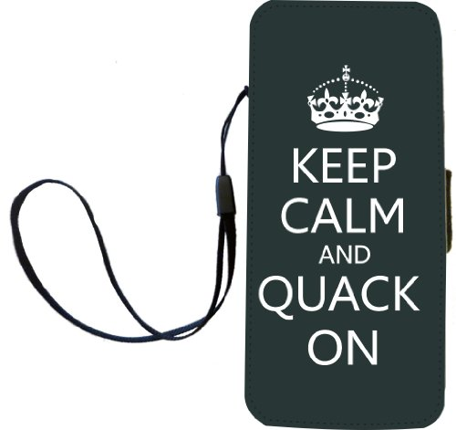 Rikki Knight Keep Calm And Quack On -Green Color Flip Wallet iPhoneCase with Magnetic Flap for iPhone 5/5s - Green