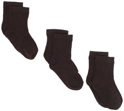 Jefferies Socks Little Boys' Rib Crew Socks  (Pack of 3), Chocolate, Toddler