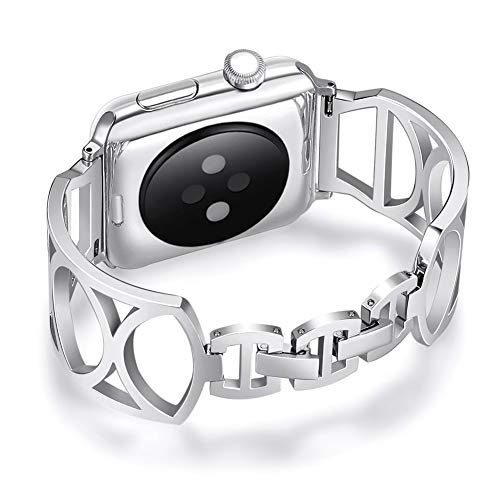 Bracelet Cuffs Compatible for Apple Watch 38MM/40MM, Yemoo Stainless Steel Bands Women Bangle Wristband for iWatch Series 4 3 2 1 with Adjustable Jewelry Buckle - Silver