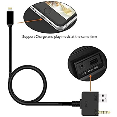 2020 Version 2 and 1 Audio and Charge AUX Music Interface Charge Cable USB and 3.5mm Jack Adapter Cord Compatible for iPXs Xs Max XR X 8 7 7 Plus for Hyundai KIA (39 inch): Home Audio & Theater