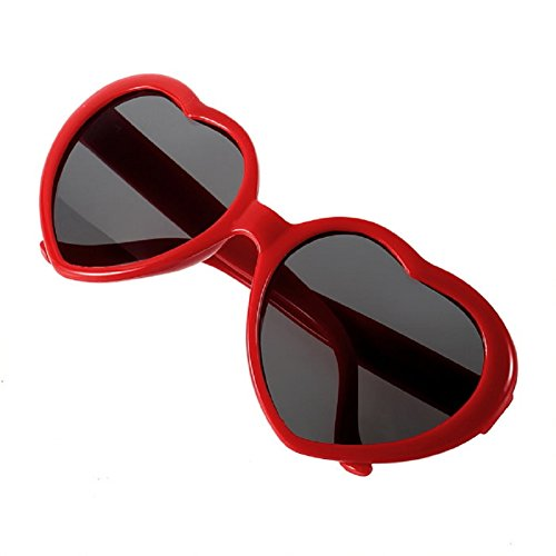 GaoCold New Fashion Men Women Lolita Vintage Heart Shaped Love Retro Sunglasses Red
