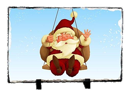 Christmas Swinging Santa with Balloon Photo Slate