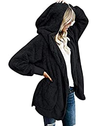 Women Casual Hooded Neck Long Sleeve Solid Loose Open Stitch Cardigan Coat Down