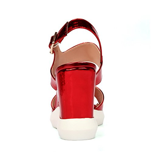 AgooLar Women's Open Toe Buckle PU Solid High Heels Sandals Red b8nya