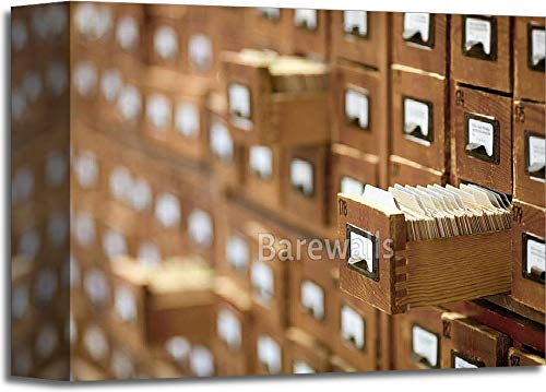 Barewalls Database Concept. Vintage Cabinet. Library Card Or File Catalog. Gallery Wrapped Canvas Art (8in. x 10in.)