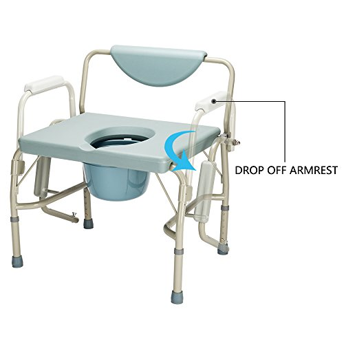 Mefeir Bedside Commode Chair FDA Approved 550 Lbs Heavy Duty Drop Arm Medical, Homecare Toilet Seat with Safety Steel Frame, 6 Quart Capacity Pail, Adjustable Height Support Tool-Free Assembly ()