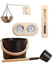 7L Sauna-emmer Sauna-accessoireset 5-delige Aluminium Sauna-emmer Met Pollepel, Aromatherapie-komset, Zandloper, Thermometer En Hygrometer