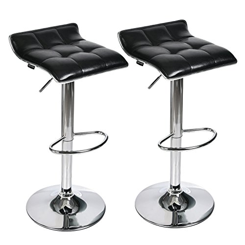 Adjustable Swivel Barstools, PU Leather with Chrome Base, Counter Height Hydraulic Pub Chairs, Set of 2, Black