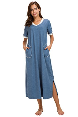 Supermamas Long Nightgown Womens Cotton Knit Short Sleeve Nightshirt with Pockets(Blue, XL) by Supermamas (Image #3)