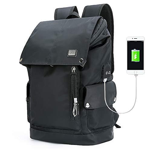 - Backpack Mens Black Fashion Backpack USB Charging Waterproof Backpack Headphones Men fit for 15.6 Inch Laptop,Pure Black