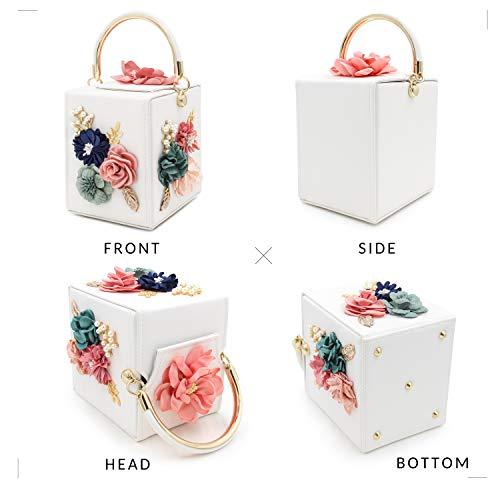 Milisente Women Clutches Flower Clutch Bag Box Clutch Purse Evening Handbag (White) by Milisente (Image #4)