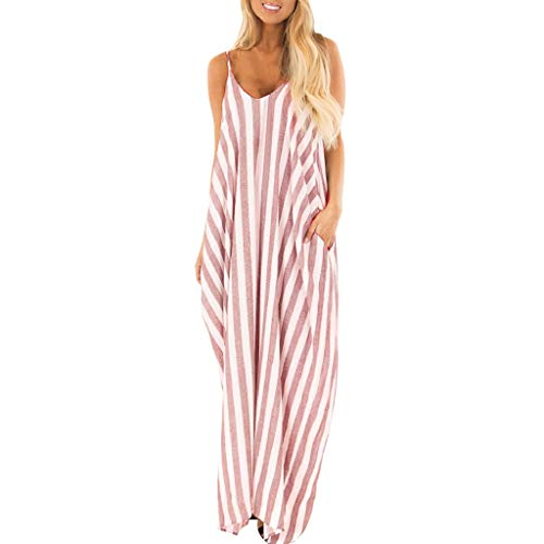 - Todaies Women's Striped Long Dress,Summer Holiday Strappy Boho Beach Maxi Sundress (L, Pink)
