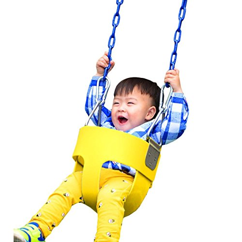 Pesters (US STOCK) Heavy-Duty High Back Full Bucket Toddler Swing Seat without Coated Chain - Swing Set Accessories, Ideal Kids Outdoor Toy (Yellow) by Pesters
