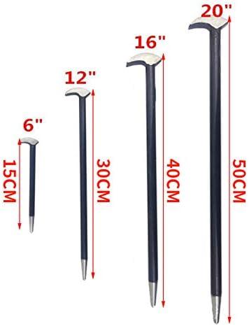4Pcs Crowbars Pry Bar Set, 6/12/16/20 in Round Rod Crowbar Nail Puller Solid Steel Rolled Heel Bar Farm Engine Workshop