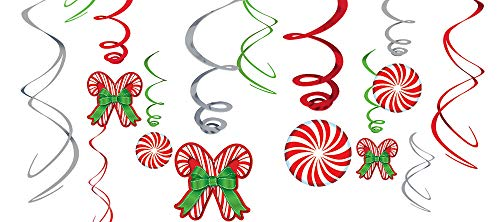 Candy Cane Swirl Decorations 12ct ()