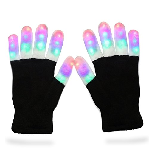 LED Gloves, Vitalismo Finger Lights Toys with Lights 3 Colorful 6 Modes Rave Gloves For (Gloves Lights)