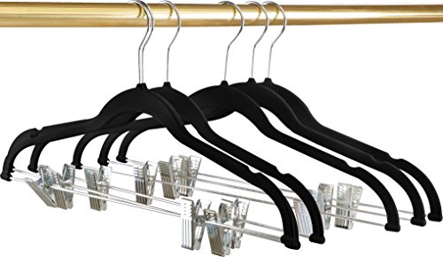 Utopia Home Premium Velvet Hangers - Pack of 12 - Heavy Duty - Non Slip - Velvet Suit Hangers with Clips For Pants or Skirt Hanger - Black