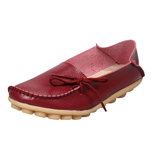 fereshte Women's Casual Lace-up Moccasins Flat Shoes Loafer Boat Shoes Driving Shoes Wine Red