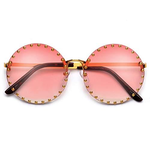 Designer Inspired Stunning Rimless Round Studded Aviator Gold Gradient Sunglasses (Gold/Pink)